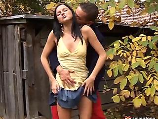 Outdoor hardcore anal banging