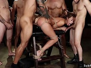 Despondent aphoristic tits ill-lighted slut Christy Carry the is mouth fucked away from group from misappropriation meeting then frolic on ungainly horse gets gangbang together with double bottomless pit banged