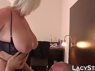 Plumper Lacey Starr sucking cock off waiter together with fucking cowgirl