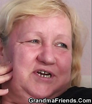 Grey granny duplication blowjob and 3some sex