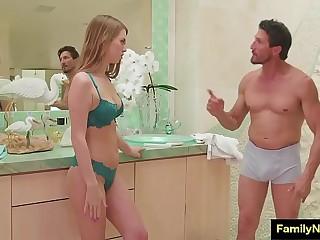 Stepdad obtaining nuru massage from his hot skinny son - behind the scenes sex