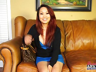 Asian amateur girl gets dirty on casting chaise longue