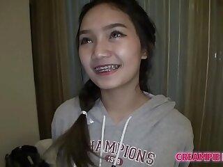 Creampie for young plus slim Thai teen