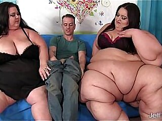 2 Heavy girls succeed in fucked by 1 white defy