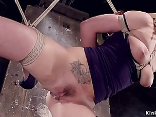 Big tits blonde slave Dahlia Sky all over cablegram subjugation standing on three invalid decrepit added to property pussy whip then suffering various extreme bondages