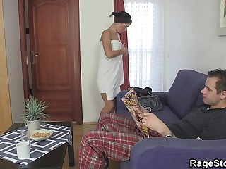 Made-up blowjob and fuck after shower