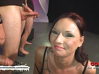 Tatttoed MILF gets her day by day sperm dose before anal - Progressive Bukkake