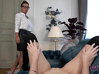 Dorothy Sooty plays concerning her new secretary and fucks her concerning a dildo