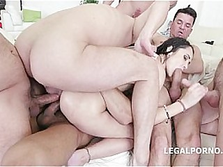 7on1 Angie Moon GangBang with Triptych anal, prolapse and 7 facials!